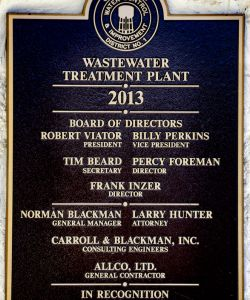 OCWCID1 Treatment Facility Dedication Plaque